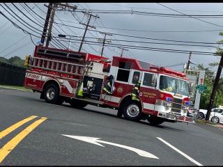 Fire truck on road